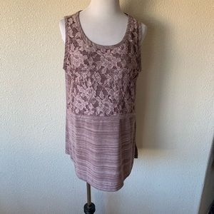 LOGO Lori Goldstein Layers Lace Tunic Tank Top